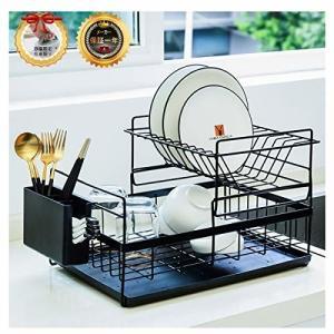 水切りラック 大容量 水切りかご キッチン 収納 食器乾燥ラック 2段式 ステンレス製 防錆 トレー付き食器置き|trafstore