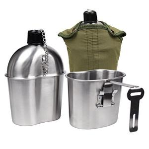 Goetland ステンレス鋼 米軍 ミリタリー 水筒 1L カップ 0.5L キャンティーンカップ|trafstore