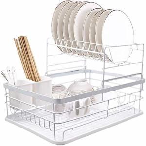 水切りかご 水切りラック バスケット食器ラック 食器置き 食器 乾燥 収納 2段式 水受けトレー付き 箸入れ可能|trafstore