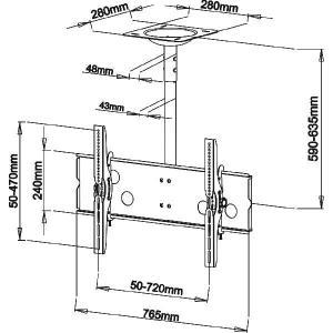 37〜60型 大型液晶/プラズマテレビ用天吊り金具(黒) CPLB101M−PRO65B|transaudio|02