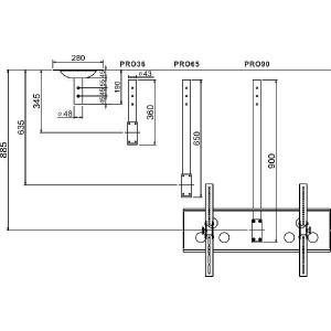 37〜60型 大型液晶/プラズマテレビ用天吊り金具(黒) CPLB101M−PRO65B|transaudio|03