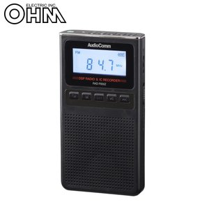 OHM AudioComm 録音機能付きラジオ ブラック RAD-F830Z-KマイクロSDカード ラジオ放送 小型|transvel