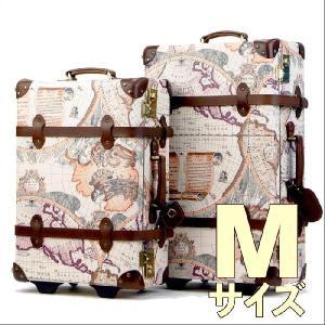 トランクケース アンティーク おしゃれ かわいい レトロ 中型 Mサイズ キャリーケース スーツケース 7013-60|travelworld