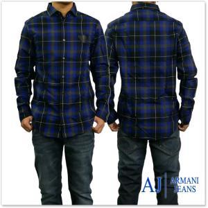 ARMANI JEANS アルマーニジーンズ メンズ長袖チェックシャツ 6Y6C74 6NMJZ ブルー|tre-style