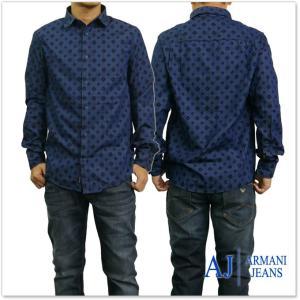 ARMANI JEANS アルマーニジーンズ メンズ長袖プリントシャツ 6Y6C32 6N1PZ ブルー|tre-style