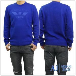 ARMANI JEANS アルマーニジーンズ メンズロゴ入りクルーネックセーター 6Y6MD3 6MFJZ ブルー tre-style