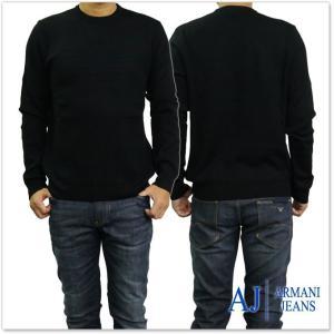 ARMANI JEANS アルマーニジーンズ メンズロゴ入りクルーネックセーター 6Y6MD3 6MFJZ ブラック tre-style