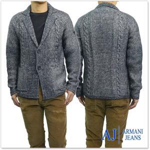 ARMANI JEANS アルマーニジーンズ メンズシングル2Bニットジャケット 6Y6EB4 6MGDZ ネイビー|tre-style