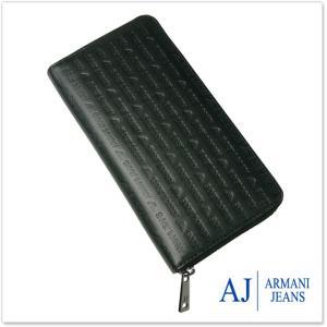 ARMANI JEANS アルマーニジーンズ ラウンドファスナー長財布(小銭入れ付き) 938542 CC999 ブラック|tre-style