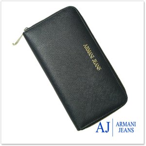 ARMANI JEANS アルマーニジーンズ レディースラウンドファスナー長財布(小銭入れ付き) 928532 CC857 ブラック|tre-style