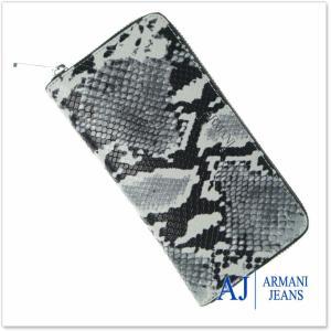 ARMANI JEANS アルマーニジーンズ レディースラウンドファスナー長財布(小銭入れ付き) 928088 7A797 ホワイト×ブラック|tre-style