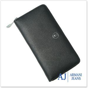 ARMANI JEANS アルマーニジーンズ レディースラウンドファスナー長財布(小銭入れ付き) 928088 7A800 ブラック|tre-style