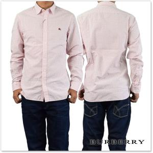 BURBERRY バーバリー メンズ長袖チェックシャツ GRIZEDALE / 4050585 チョークピンク|tre-style
