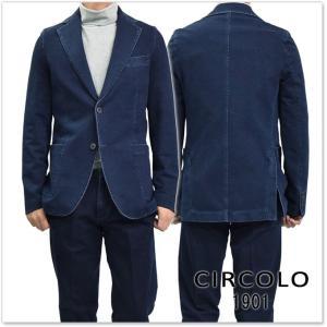 CIRCOLO1901 チルコロ1901 メンズジャージー素材シングル2Bジャケット CN1620 インディゴブルー|tre-style