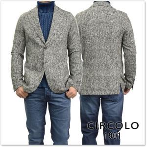 CIRCOLO1901 チルコロ1901 メンズジャージー素材シングル2Bジャケット CN1597 グレー|tre-style