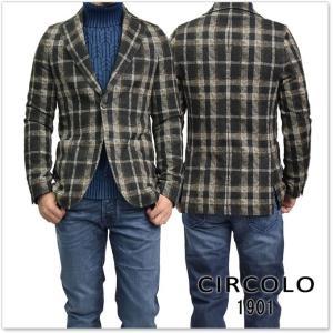 CIRCOLO1901 チルコロ1901 メンズジャージー素材シングル2Bジャケット CN1593 ブラウン|tre-style