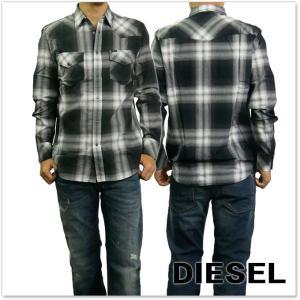 DIESEL ディーゼル メンズ長袖チェックシャツ S-EAST-LONG / 00SZS1 0NAPK ブラック|tre-style
