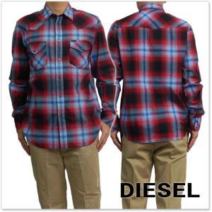 DIESEL ディーゼル メンズ長袖チェックシャツ S-EAST-LONG / 00SZS1 0NAPK レッド|tre-style