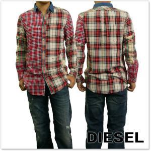 DIESEL ディーゼル メンズ長袖チェックシャツ S-MELVIN / 00SZE3 0BAPH レッド|tre-style