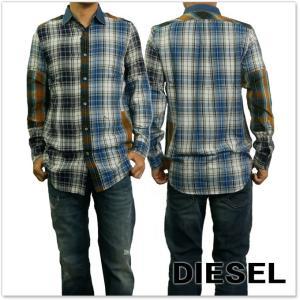 DIESEL ディーゼル メンズ長袖チェックシャツ S-MELVIN / 00SZE3 0BAPH ブルー|tre-style