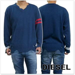 DIESEL ディーゼル メンズVネックセーター K-KURTY / 00SZU6-0TAQI ネイビー tre-style