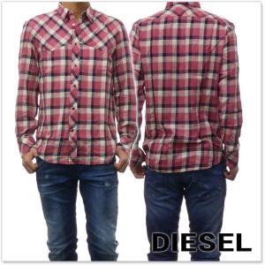 DIESEL ディーゼル メンズ長袖チェックシャツ S-PLANET / 00S85Z 0SASE ピンク /2018春夏新作|tre-style