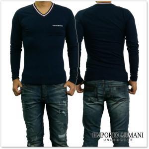 EMPORIO ARMANI UNDERWEAR エンポリオアルマーニアンダーウェア メンズVネックラグランロングTシャツ 111742 7A525 ネイビー /2017秋冬新作 tre-style