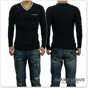 EMPORIO ARMANI UNDERWEAR エンポリオアルマーニアンダーウェア メンズVネックラグランロングTシャツ 111742 7A525 ブラック /2017秋冬新作 tre-style