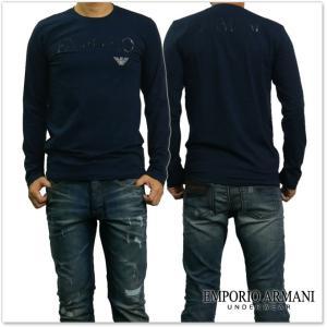 EMPORIO ARMANI UNDERWEAR エンポリオアルマーニアンダーウェア メンズクルーネックロングTシャツ 111653 7A516 ネイビー /2017秋冬新作 tre-style