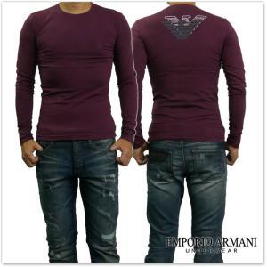 EMPORIO ARMANI UNDERWEAR エンポリオアルマーニアンダーウェア メンズクルーネックロングTシャツ 111023 7A725 ワイン /2017秋冬新作 tre-style