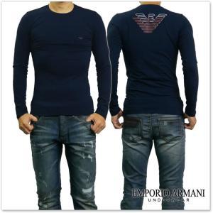 EMPORIO ARMANI UNDERWEAR エンポリオアルマーニアンダーウェア メンズクルーネックロングTシャツ 111023 7A725 ネイビー /2017秋冬新作 tre-style