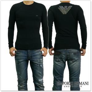 EMPORIO ARMANI UNDERWEAR エンポリオアルマーニアンダーウェア メンズクルーネックロングTシャツ 111023 7A725 ブラック /2017秋冬新作 tre-style