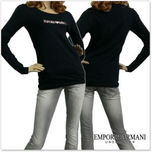 EMPORIO ARMANI UNDERWEAR エンポリオアルマーニアンダーウェア レディースクルーネックロングTシャツ 163378 7A263 ブラック /2017秋冬新作|tre-style
