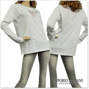 EMPORIO ARMANI UNDERWEAR エンポリオアルマーニアンダーウェア レディースクルーネックロングTシャツ 163966 7A253 ホワイト /2017秋冬新作|tre-style