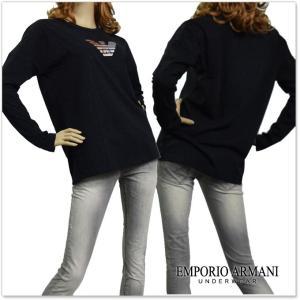 EMPORIO ARMANI UNDERWEAR エンポリオアルマーニアンダーウェア レディースクルーネックロングTシャツ 163966 7A253 ブラック /2017秋冬新作|tre-style