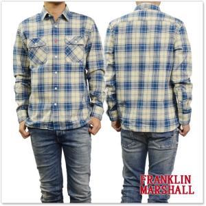 FRANKLIN&MARSHALL フランクリン&マーシャル メンズチェックシャツ SHMF398AN ブルー×アイボリー|tre-style