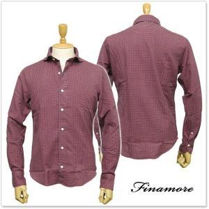 FINAMORE フィナモレ メンズカッタウェイシャツ SIMONE / GENOVA 980123 レッド×ブルーチェック|tre-style