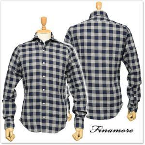 FINAMORE フィナモレ メンズカッタウェイシャツ SIMONE / GENOVA 1043284 ネイビー|tre-style