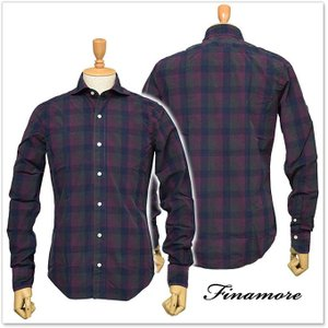 FINAMORE フィナモレ メンズカッタウェイシャツ SIMONE / GENOVA 1043242 ネイビー×パープル|tre-style