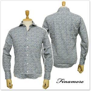 FINAMORE フィナモレ メンズカッタウェイシャツ SIMONE / GENOVA 960765 ブルーレオパード|tre-style