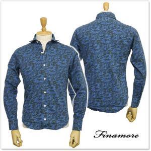 FINAMORE フィナモレ メンズカッタウェイシャツ SIMONE / GENOVA 960760 ブルーカモフラ|tre-style