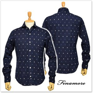 FINAMORE フィナモレ メンズカッタウェイシャツ SIMONE / GENOVA 1043945 ネイビー|tre-style