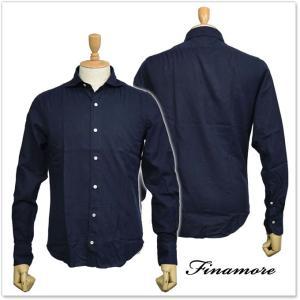 FINAMORE フィナモレ メンズカッタウェイシャツ SIMONE(シモーネ)/ GENOVA 980163 ネイビー|tre-style