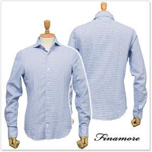 FINAMORE フィナモレ メンズカッタウェイシャツ SIMONE(シモーネ)/GENOVA 012317 ブルー|tre-style