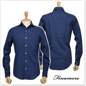 FINAMORE フィナモレ メンズカッタウェイシャツ SIMONE(シモーネ)/GENOVA 012278 ネイビー|tre-style