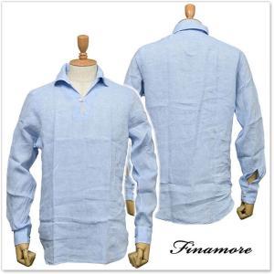 FINAMORE フィナモレ メンズプルオーバーリネンシャツ MINORCA 010608 ライトブルー|tre-style