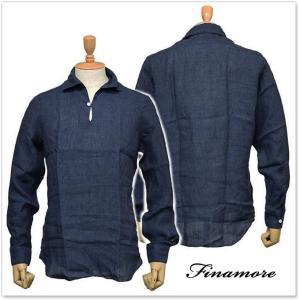 FINAMORE フィナモレ メンズプルオーバーリネンシャツ MINORCA 010608 ネイビー|tre-style