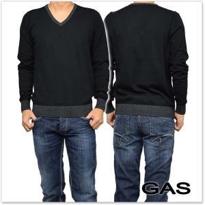 GAS JEANS ガスジーンズ メンズVネックセーター RASSEL V/S / 561662 431117 ブラック