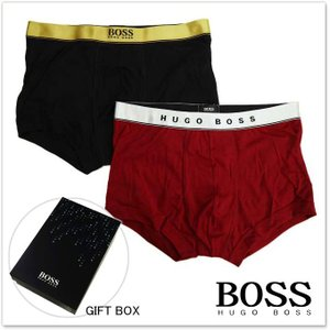 HUGO BOSS ヒューゴボス ギフトボックス入り2枚組メンズボクサーパンツ 2P Gift 50325783 10160082 レッド ブラック|tre-style