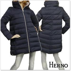 HERNO ヘルノ レディースダウンコート PI0545D 19288 ダークネイビー×ベージュ|tre-style